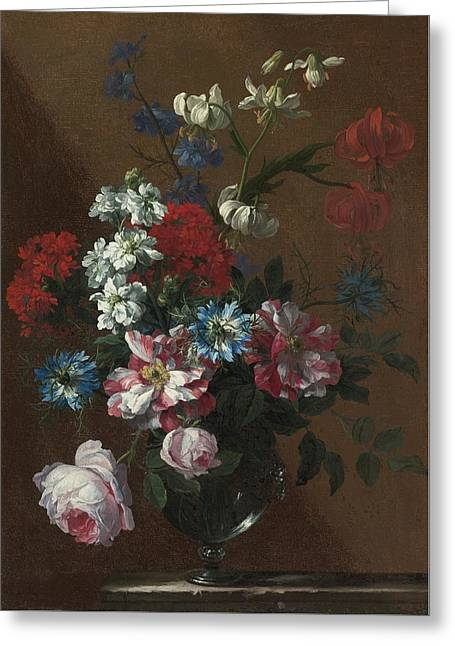 London Bouquets Of Flowers In Glass Vases  Greeting Card