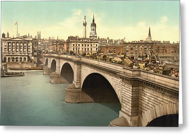 London Bridge Across The Thames River Greeting Card by Vintage Design Pics