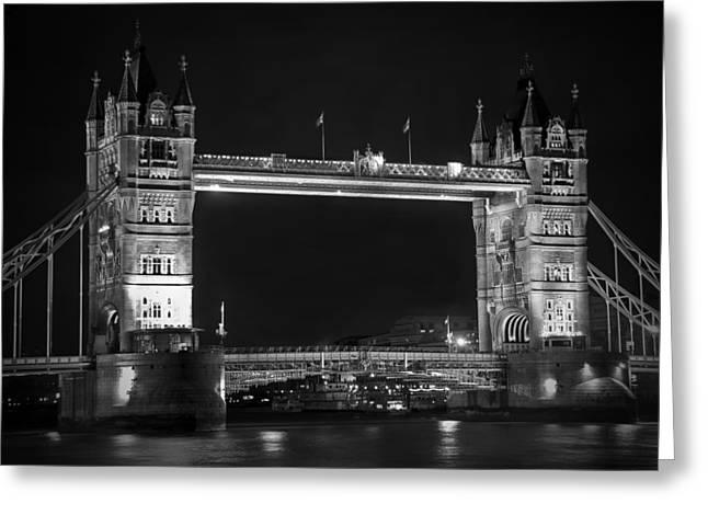 London Bridge At Night Bw Greeting Card