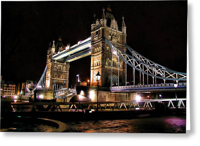 London Bridge At Night Greeting Card by Dean Wittle