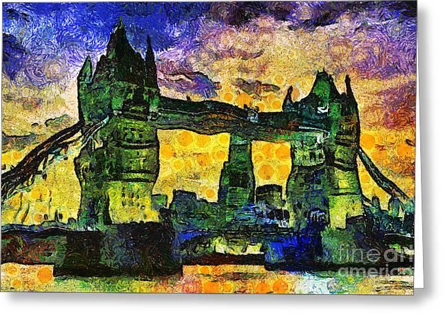 Greeting Card featuring the digital art London Bridge by Ian Mitchell