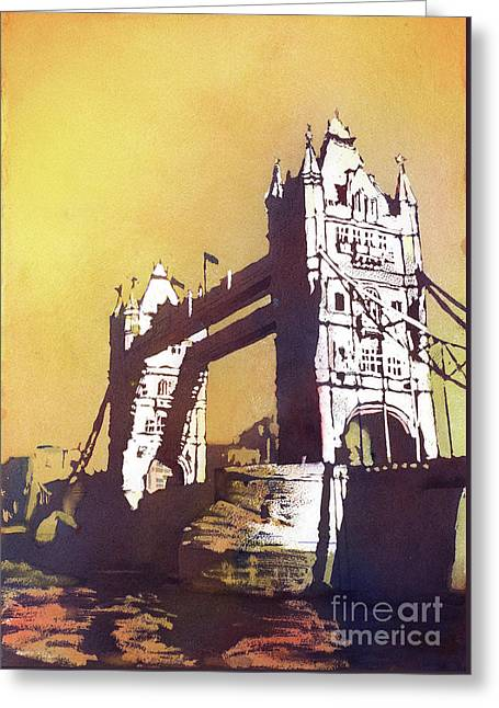 Greeting Card featuring the painting London Bridge- Uk by Ryan Fox