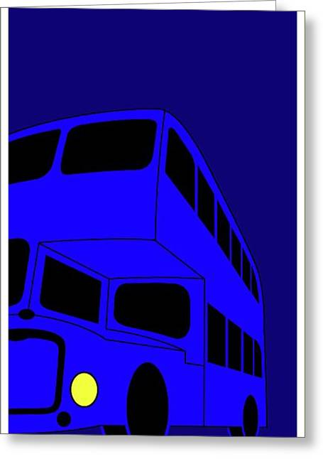 London Bus Is Blue Greeting Card by Asbjorn Lonvig