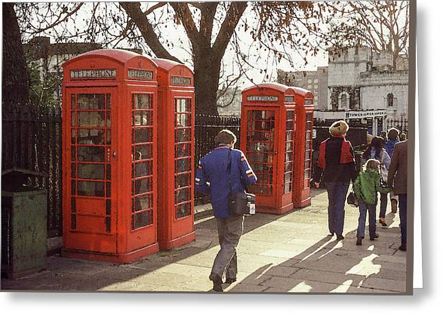 Greeting Card featuring the photograph London Call Boxes by Jim Mathis