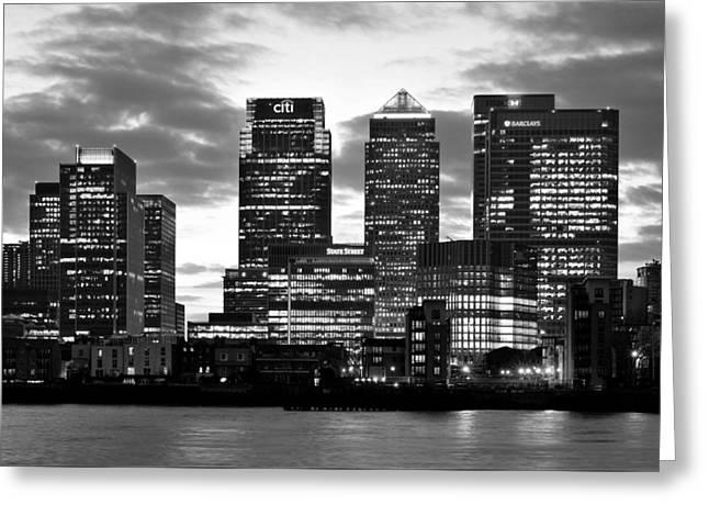 London Canary Wharf Monochrome Greeting Card by Marek Stepan