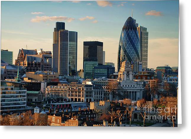 London City Of Contrasts Greeting Card by Lois Bryan