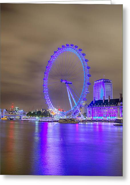 London Cityscape At Night 5x7 Greeting Card