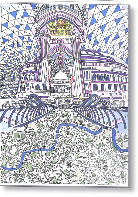 London Composition 4 Greeting Card