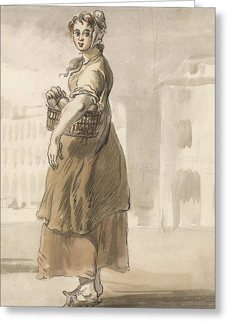 London Cries - A Girl With A Basket Of Oranges Greeting Card by Paul Sandby