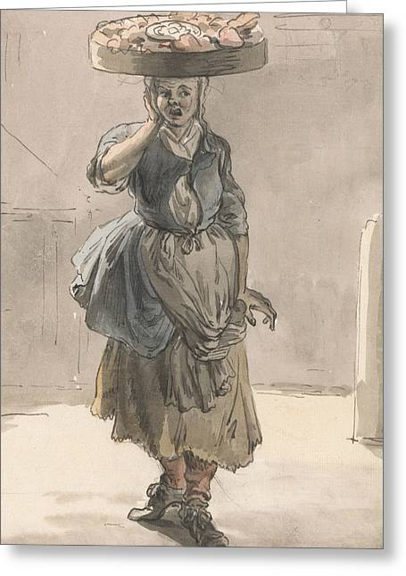 London Cries - A Girl With A Basket On Her Head Greeting Card