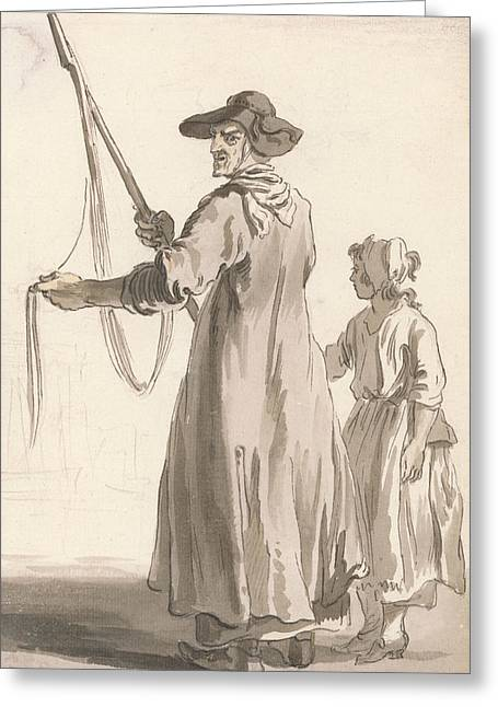 London Cries - A Lace Seller Greeting Card by Paul Sandby