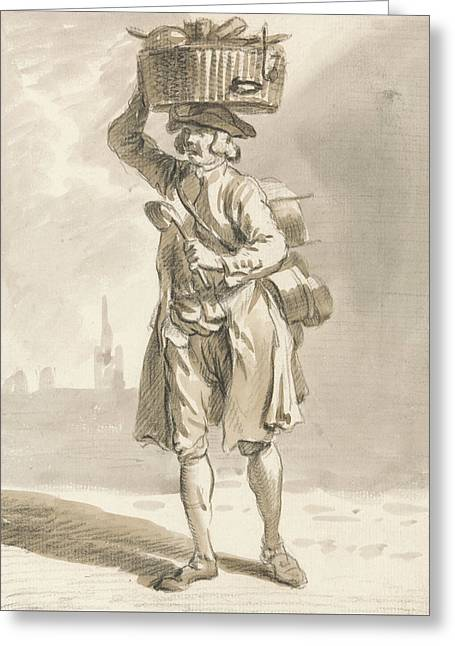 London Cries - A Man With A Basket  Greeting Card by Paul Sandby