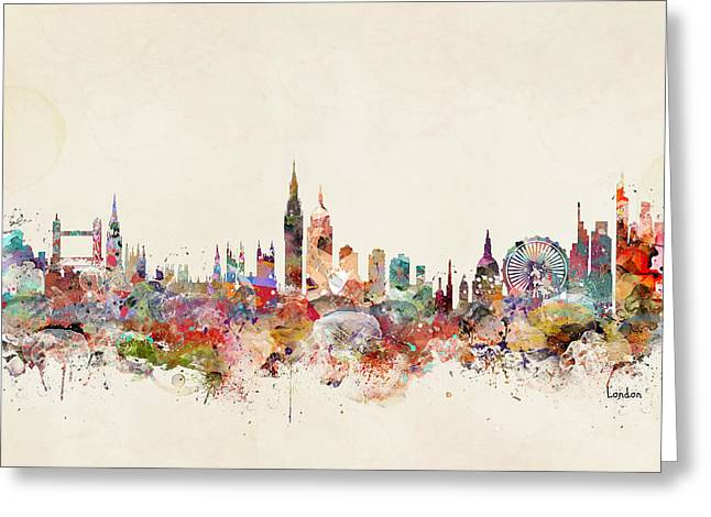 London England City Skyline Greeting Card