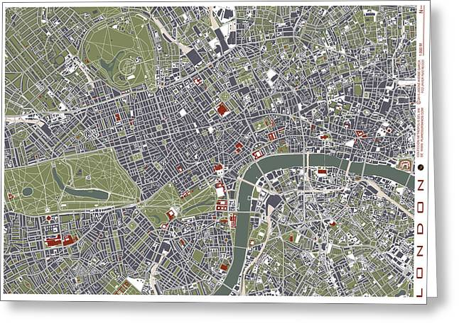 London Engraving Map Greeting Card by Jasone Ayerbe- Javier R Recco