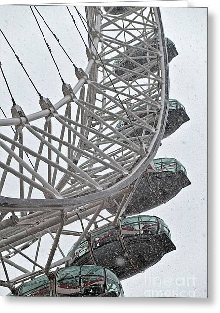 London Eye And Snow Greeting Card