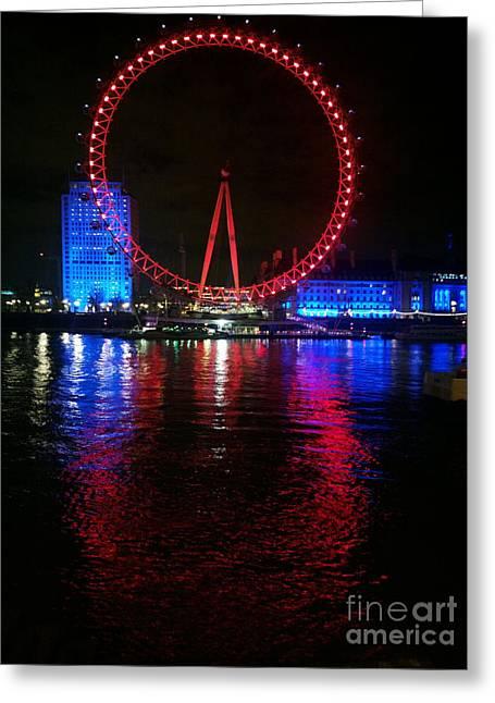 London Eye At Night Greeting Card by Hanza Turgul