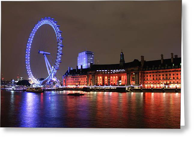London Eye By Night Greeting Card by RKAB Works