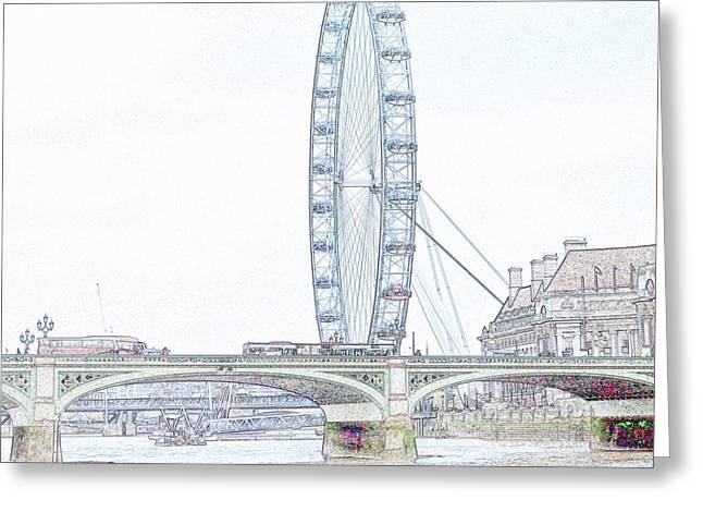 London Eye In Pencil Greeting Card