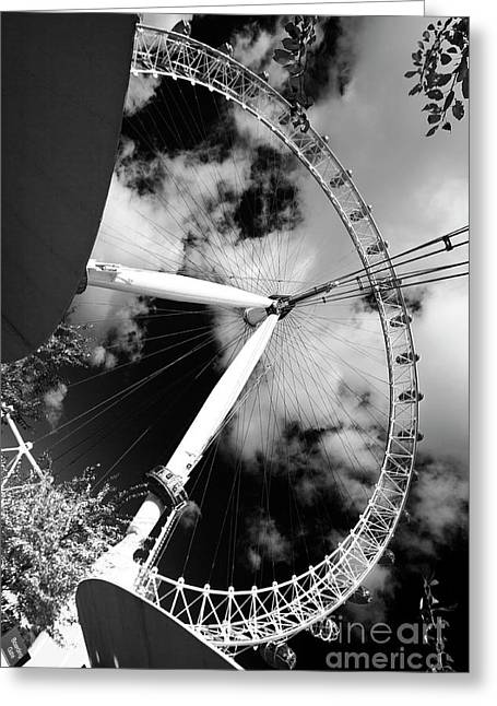 London Ferris Wheel Bw Greeting Card
