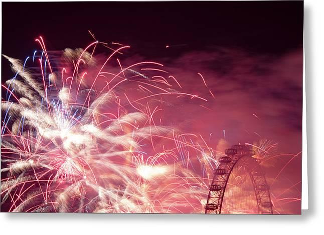 London Eye On Fire Greeting Card by Monika Tymanowska