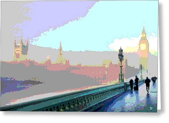 London Fog Greeting Card by Charles Shoup