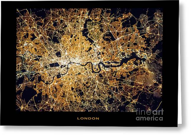 Greeting Card featuring the photograph London From Space by Delphimages Photo Creations
