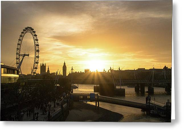 London Golden Hour Greeting Card by Cheryl Page