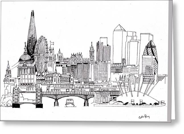 London Medley Monochrome Greeting Card