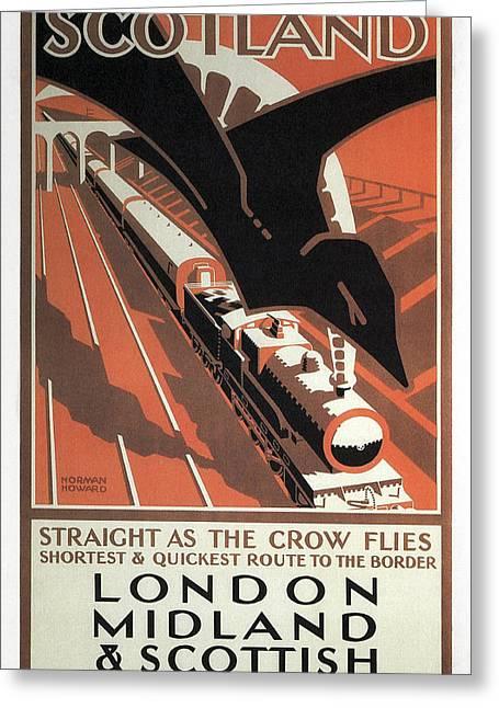 London Midland And Scottish Railway Vintage Travel Greeting Card by Daniel Hagerman