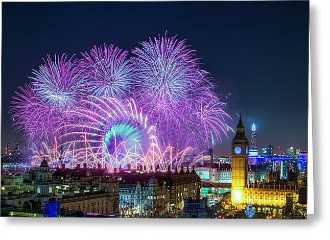 London New Year Fireworks Display Greeting Card
