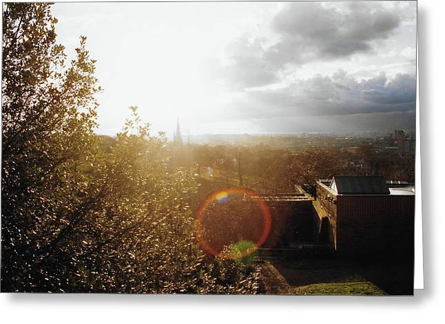 London Partialy Cloudy With A Chance Of Flare Greeting Card by Patrick Murphy
