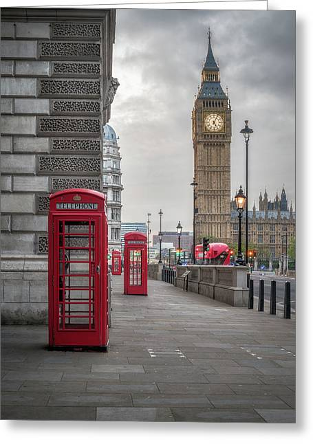 London Phone Booths And Big Ben Greeting Card