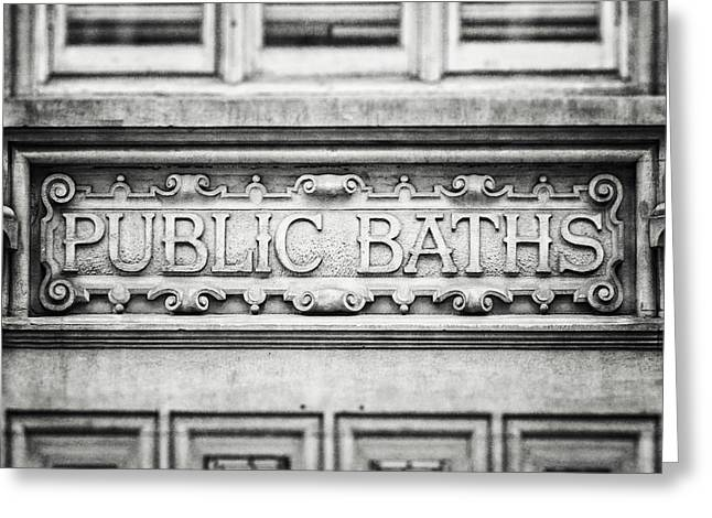 London Photography Public Baths Black And White  Greeting Card by Lisa Russo