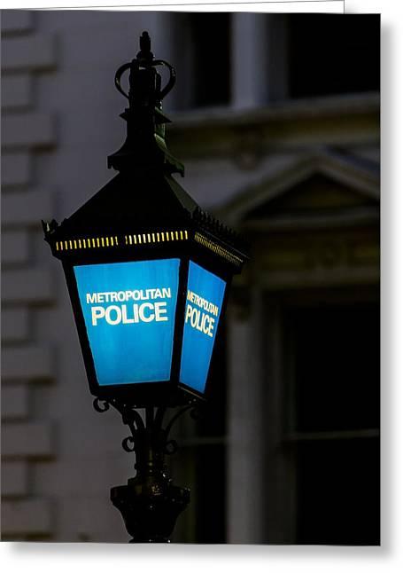 London Police Lamp Greeting Card