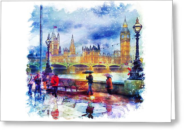 London Rain Watercolor Greeting Card by Marian Voicu