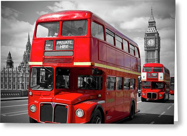 London Red Buses On Westminster Bridge Greeting Card