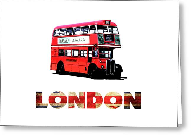 London Red Double Decker Bus Tee Greeting Card by Edward Fielding