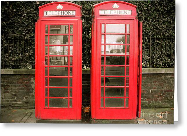 London Red Phone Booths Greeting Card