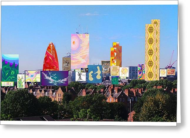 London Skyline Collage 1 Greeting Card