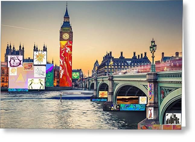 London Skyline Collage 3 Inc Big Ben, Westminster  Greeting Card