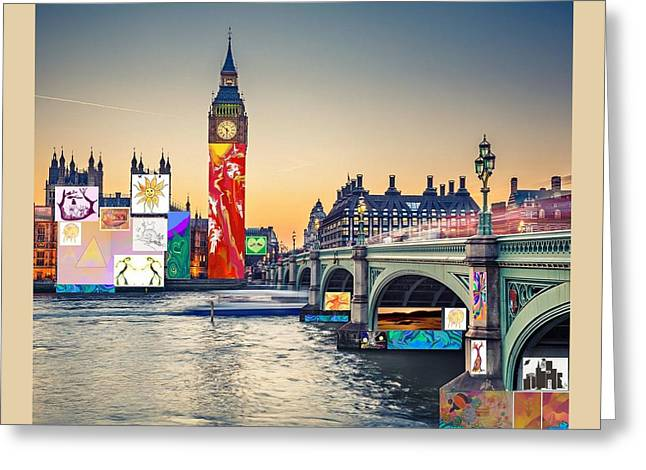 London Skyline Collage 3 Inc Big Ben, Westminster  Greeting Card