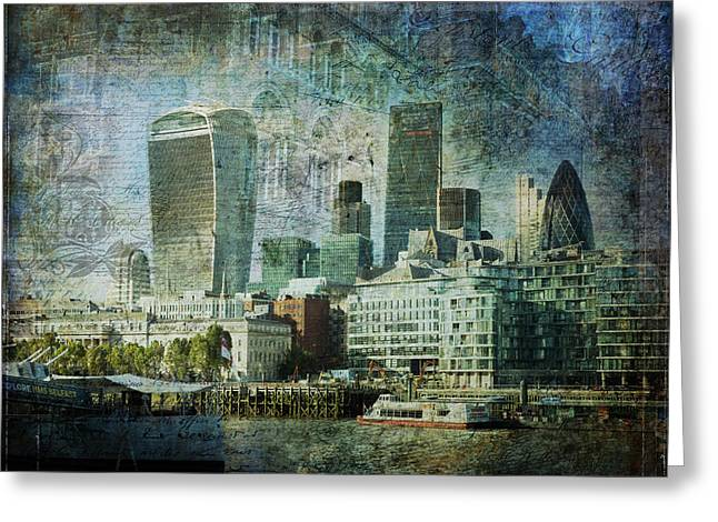 London Skyline Key Of Blue Greeting Card