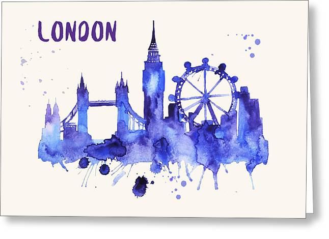 London Skyline Watercolor Poster - Cityscape Painting Artwork Greeting Card