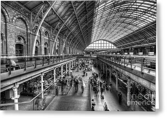 London St Pancras Station Bw Greeting Card