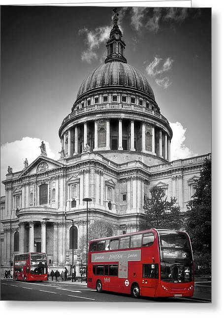 London St. Pauls Cathedral And Red Bus Greeting Card