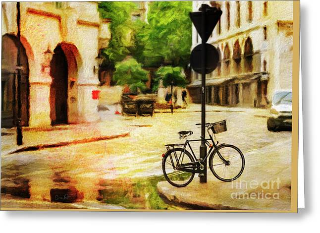 Greeting Card featuring the photograph London Street Bicycle by Craig J Satterlee