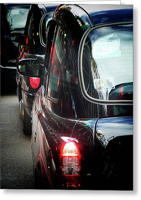 London Taxis  Greeting Card by Connie Handscomb