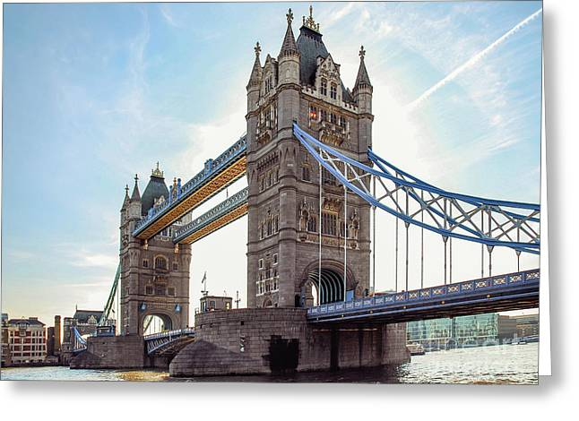 Greeting Card featuring the photograph London - The Majestic Tower Bridge by Hannes Cmarits