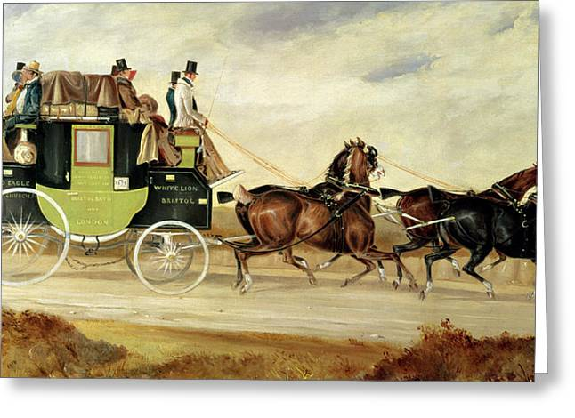 London To Bristol And Bath Stage Coach Greeting Card