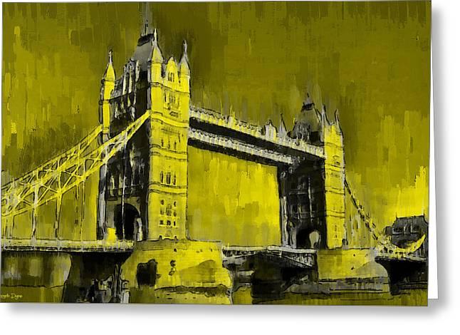 London Tower Bridge 16 - Pa Greeting Card by Leonardo Digenio
